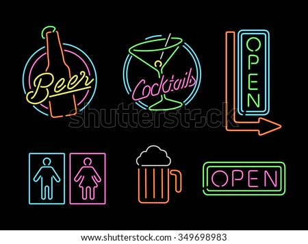Set of retro style neon light outline sign icons for bar, beer, open business, cocktail and bathroom symbol. EPS10 vector.
