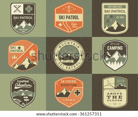 Set of Retro style Ski Club, Patrol Labels. Classic Mountain elements. Winter or summer camping explorer badges. Outdoor adventure logo design. Travel hipster insignia. Mountains icon symbol. Vector.