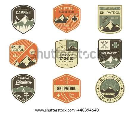 set of retro style ski club ...