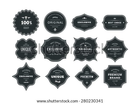 Set Of Retro Styled Black Labels With Frames Vector Classic Isolated Decorative Tags