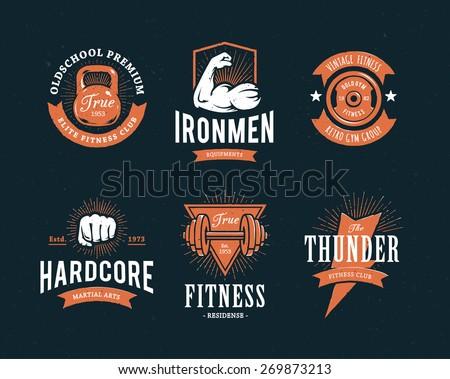 set of retro styled fitness emblems vintage gym logo
