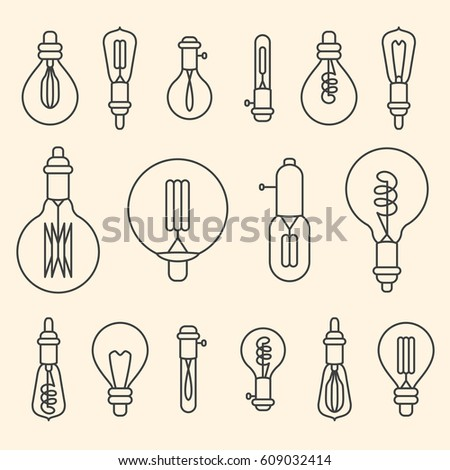 Set of retro stylized linear electric bulbs illustration