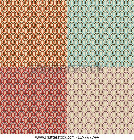 Set of retro stylized seamless patterns