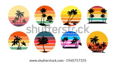 Set of retro sunsets in the style of the 80s and 90s. Abstract background with a sunny gradient. Silhouettes of palm trees. Vector design template for logo, badges. Isolated white background.