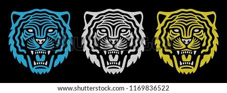 Set of retro tiger faces. Vintage design. Retro logo. Roaring tiger.