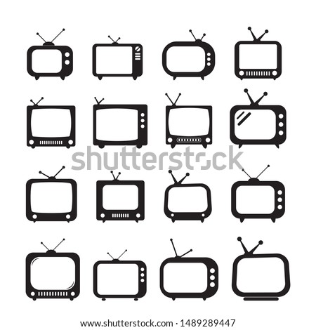 Set of retro TV icon in flat style, black and white retro TV icon, Vector illustration of Retro TV icon for you design.