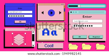 Set of retro user interface tabs and icons. Screen panels and dialog boxes of computer software.