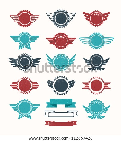 Set of retro vintage badge icons for logo labels packaging web and print