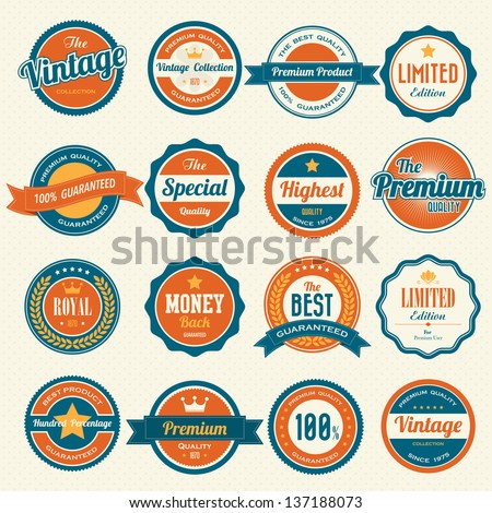 Set of retro vintage badges and labels.eps10