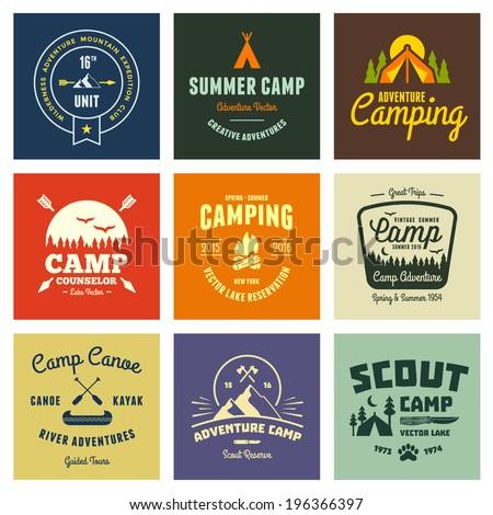 set of retro vintage camp...