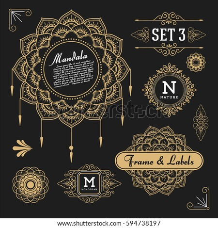 Set of retro vintage graphic design elements for frame, labels, logo symbols and ornamental. Vector illustration