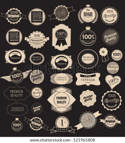 Set of retro vintage labels  and  ribbons. Vector illustration.