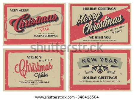 set of retro vintage merry christmas and happy new year background for greeting card poster