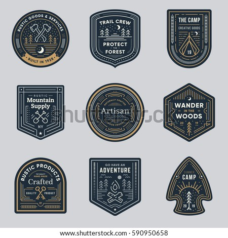 Set of retro vintage outdoor camp logo badges - Shutterstock ID 590950658