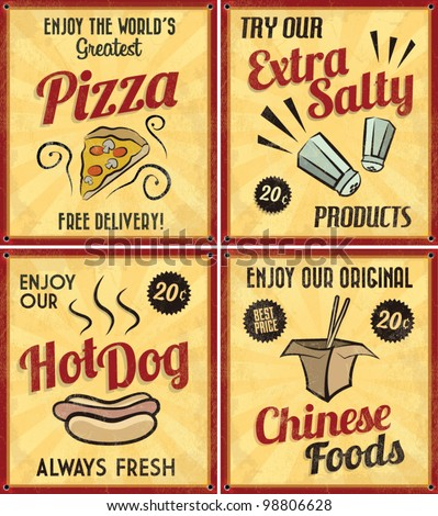 Set of Retro Vintage Tin Signs with Grunge Effect