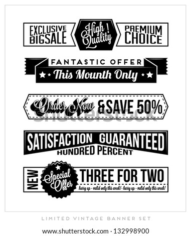 Set of Retro Vintage Typographic Business Banner Design Set for Web or Print