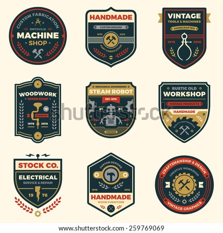 Set of retro vintage workshop badges and logo label graphics
