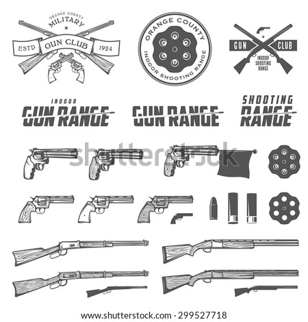set of retro weapons labels