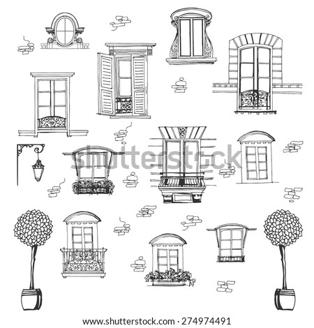 set of retro windows isolated