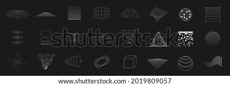Set of retrofuturistic design elements. Collection of grids, cubes, perspectives, striped shapes, circular elements, polar grids, triangles in cyberpunk 80s style. Vector illustration.