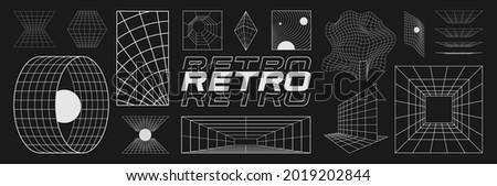 Set of retrofuturistic design elements, perspective grids, tunnel, RETRO title, polar grid, blackhole, bipyramide, circle portal, gravity visualization. Cyberpunk 80s style. Vector illustration.