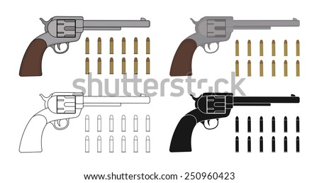 set of  revolvers with bullets