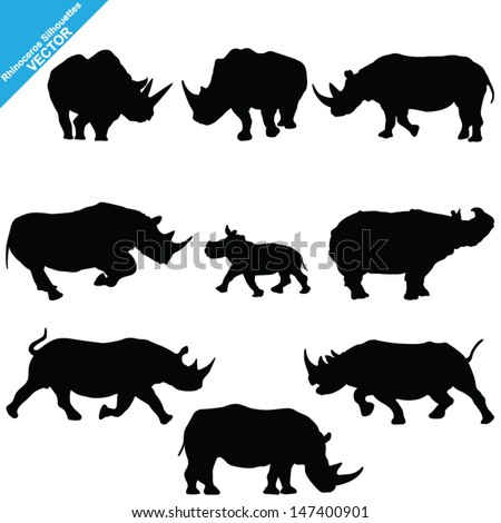 set of rhinoceros silhouettes