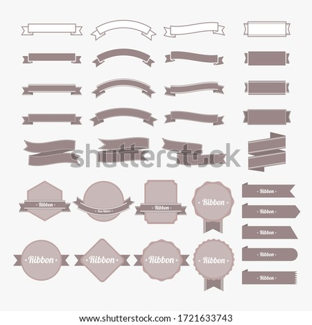 Set of ribbon and banner with brown color. Flat design label collection.