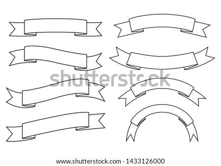 set of ribbon banner,ribbon banner vector,ribbon banner outline style,on white background