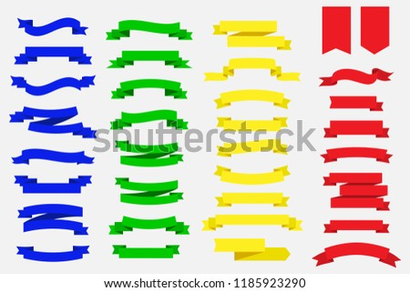 set of ribbon banners. blue green yellow and red ribbon banners
