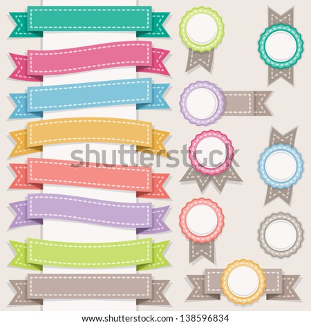 Set of ribbons and stamps. Sewing style.