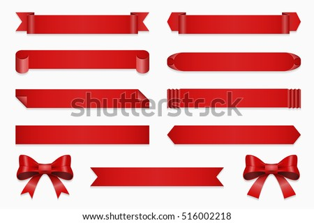 Set of ribbons for anniversary. Vector banner and bow, straight red tape isolated on white background illustration
