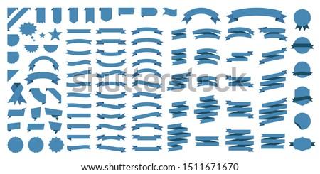 Set of 100 Ribbons. Ribbon elements. Starburst label. Vintage. Modern simple ribbons collection. Vector illustration.