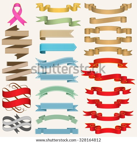 Set of Ribbons vector illustration. Saved in EPS 8 file, well constructed for easy editing.No gradient mesh is used, just simple linear gradients.