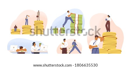 Set of rich and poor people with different salary, income or career growth unfair opportunity. Concept of financial inequality or gap in earning. Flat vector cartoon illustration isolated on white