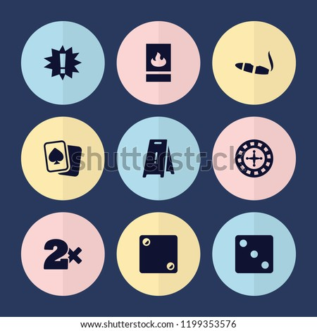 set of 9 risk filled icons such