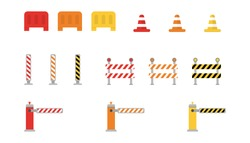 Set of road barriers. Warning roadblock border. Striped street signs. Attention construction fence due to work. Street road sign.  Isolated caution barrier. Vector EPS 10