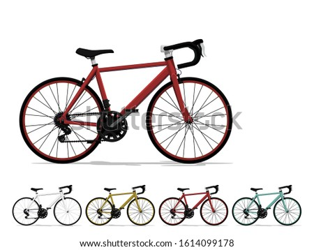 set of road bike on white