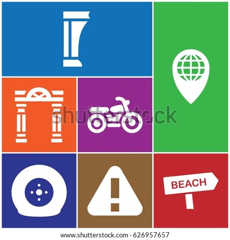 set of 7 road filled icons such