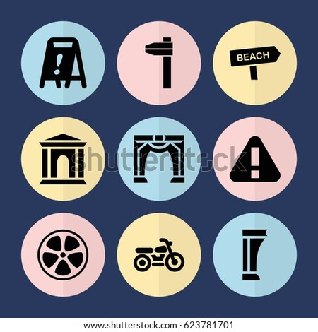 set of 9 road filled icons such