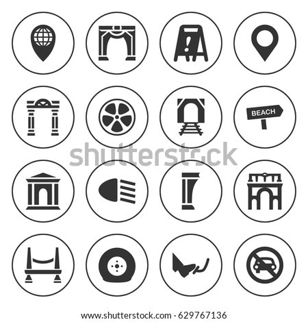 set of 16 road filled icons
