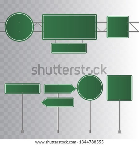 Set of road green traffic signs. Blank board with place for text. Isolated on transparent background. Vector illustration.   #1344788555