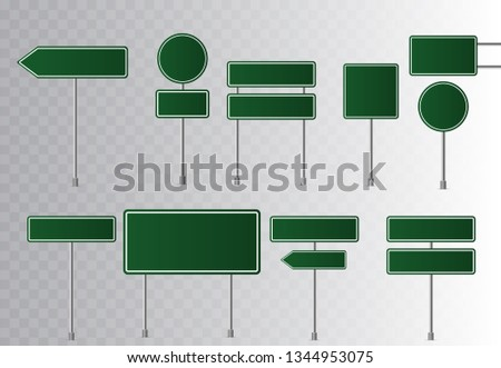 Set of road green traffic signs. Blank board with place for text. Isolated on transparent background. Vector illustration.   #1344953075