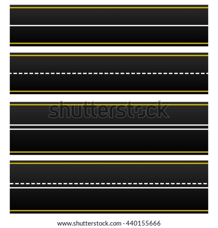 Set of 4 road, highway, roadway shapes. Dashed and straight lines isolating lanes. Empty roads. Vector illustration.