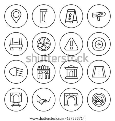 set of 16 road outline icons