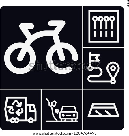 set of 6 road outline icons