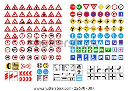 Set of road sign. collection of warning, priority, prohibitory, mandatory... traffic symbol. european and american style design. vector art image illustration, isolated on white background