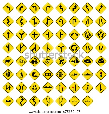 Set of road sign icons #675932407