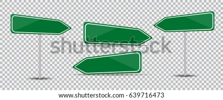 Set of Road Sign Isolated on transparent backgound Blank green arrow traffic. Vector Illustration. EPS10