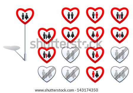 Set of road signs designed with heart shape and human pictograms. Its about gender relation, family, marriage, child adoption, prohibitions and de-restrictions in these fields.